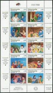 Venezuela 1581 aj sheet,MNH.Michel 3147-3156 klb. Christmas 1997.