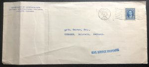 1940 Guelph Canada Service Suspended Horticulture Dept Cover To Utersen Germany