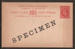 Jamaica H&G 23, 1902 1p KEVII SPECIMEN Postal Card