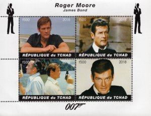 Chad 2018 Roger Moore James Bond Hollywood Movie Actor 4v Mint S/S. (#116)