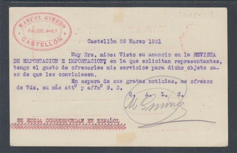 Spain H&G 49 used. 1910 10c Postal Card, Castellon - Hamburg, Germany, clean