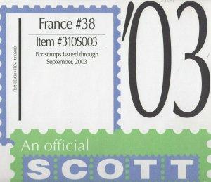 Scott France Supplement #38 2003