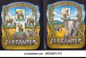 MOZAMBIQUE - 2015 ELEPHANTS / WILD ANIMALS - SET OF 2 MIN. SHEET MNH