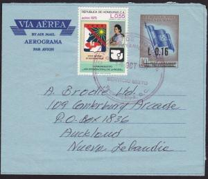 HONDURAS 1998 L0.16 opt airletter uprated used to New Zealand.............70237