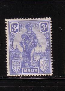 Malta Sc105 1922 3 d ultramarine Malta Statue stamp mint