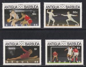 Antigua # 1048-1051, Seoul Summer Olympics, NH 1/2 Cat.