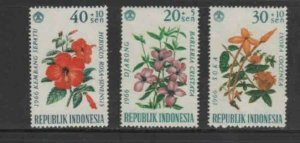 INDONESIA #B195-B198 1966 FLOWERS MINT VF NH O.G