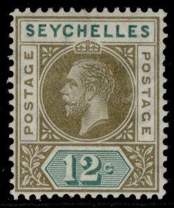 SEYCHELLES GV SG74, 12c olive-sepia & dull green, M MINT.