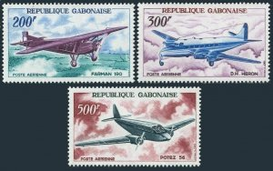 Gabon C50-C52,MNH.Michel 273-275. Planes 1967.Farman,De Havilland Heron,Potez.