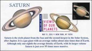 2016, Views of our Planets, Saturn, Digital Color Postmark, FDC, 16-226