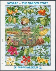 Micronesia 103 ar sheet,MNH.Michel 154-171 Bl.6. EXPO-1989:Kosrae,Garden State.