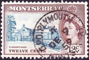 MONTSERRAT 1955 QEII 12c Blue & Red-Brown SG144 FU