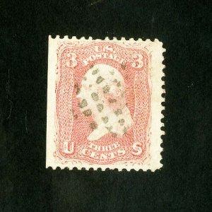 US Stamps # 64b Huge stamp w/ natural SE at left & light cancel Scott Value $150