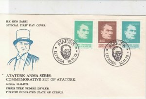 Turkish Federated Cyprus 1978 Commemor. Set of Ataturk FDC Stamps Cover Ref23583