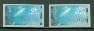 PORTUGAL EXPO 98 ATM...AZUL...SET...MNH...$25.00