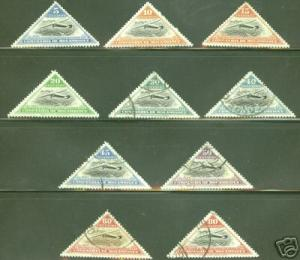 MOZAMBIQUE COMPANY Scott 165-174 Used CTO set of 10 triangle stamps