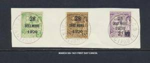 MONACO 1921, BIRTHDAY OVERPRINT SET WITH FIRST DAY CANCELS Sc#30-32(SEE BELOW)