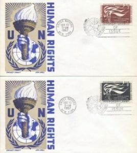 UN #57/58 HUMAN RIGHTS 1957 - Cachet Craft - Boll