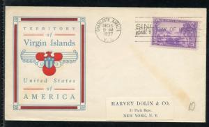 UNITED STATES 1937 VIRGIN ISLANDS FOUR COLOR UNADDRESSED  FIRST DAY COVER