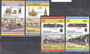 Union Island 1984 Trains, Railways, 4 pair, MNH G.356