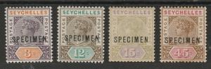 SEYCHELLES 1893 QV SET 3C-45C SPECIMEN