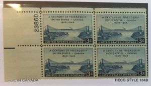 US #961 PB (MNHOG) [Plate Block Mint No Hinge Original Gum] Canada Friendship