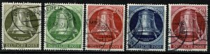 GERMANY BERLIN 1951-2 FREEDOM BELL (RIGHT) USED SG B82-86 Wmk.M7 P.14 SUPERB