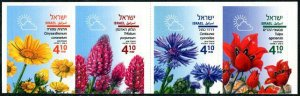 HERRICKSTAMP NEW ISSUES ISRAEL Sc.# 2184a Spring Flowers Self-Adh. Booklet