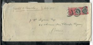 GREAT BRITAIN COVER (PP0301B)  1903 KE 1/-X2+1D COVER ANTIQUE OVER 100 YEARS OLD