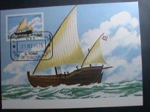 ST.THOMAS-1979-SC#537 MAXIMUM- CARD-HISTORY OF NAVIGATION-SHIPS MNH SHEET VF