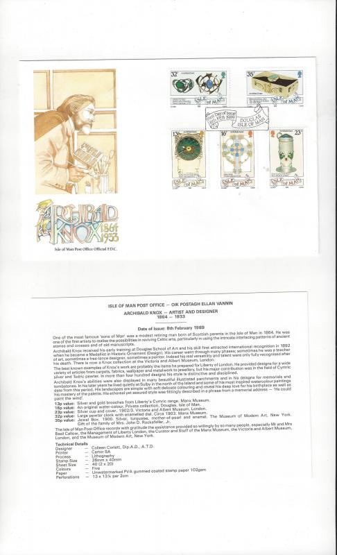 Isle of Man 384-88 Archibald Knox 1989  Official FDC