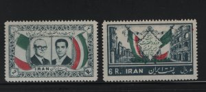 IRAN 1077-1078 Hinged, Brown Gum, 1957 Pres. Giovanni Gronchi of Italy and Shah