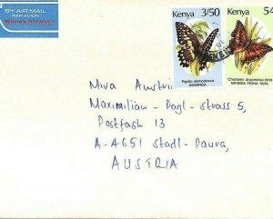 KENYA Air Mail Cover *Butterflies* MIVA MISSIONARY Austria 1991 {samwells} CA155