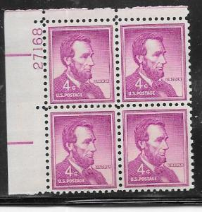 US#1036 4c Lincoln Plate block of 4 (MNH) CV $1.00