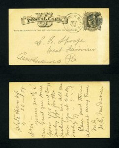 Post Card from White House Station, New Jersey to Cumberland, PA dated 4-22-1878
