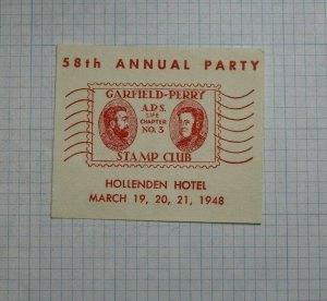 1948 GPSC Cleveland OH 58th Annual Party Souvenir Label Ad