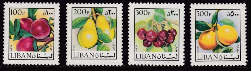 Lebanon 1973  FOUR Stamps from the Fruit/Flower Airmail set. The HIGH-VALUES