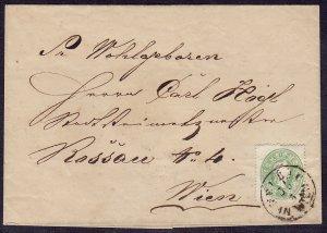 Austria - 1860-1861 - Scott #13 - used on cover - NEUBAU / IN WIEN pmk