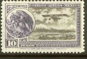 MEXICO C19, $10P Early Air Mail Plane and coat of arms MINT, NH. F-VF.