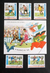 CUBA Sc# 3896-3901  WORLD CUP OF SOCCER football CPL SET of 5 + SS  1998  used