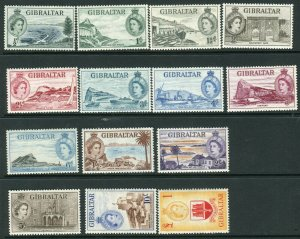GIBRALTAR-1953-59 An unmounted mint set to £1 Sg 145-158