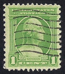 705 1 cent Washington, Houdon, Green Stamp used F-VF