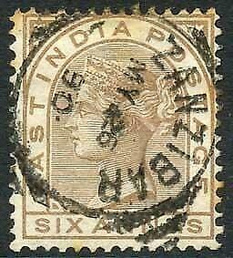 Zanzibar SGZ60 6a Pale Brown Z5 Squared Circle dated 25th May 1890