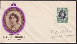 CAYMAN IS 1953 Coronation commem FDC - Georgetown cds.......................7669