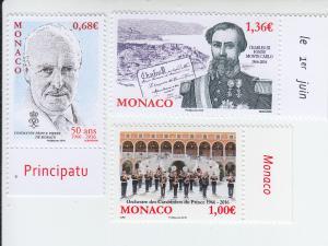 2016 Monaco Anniversaries (3) (Scott 2837-39) MNH