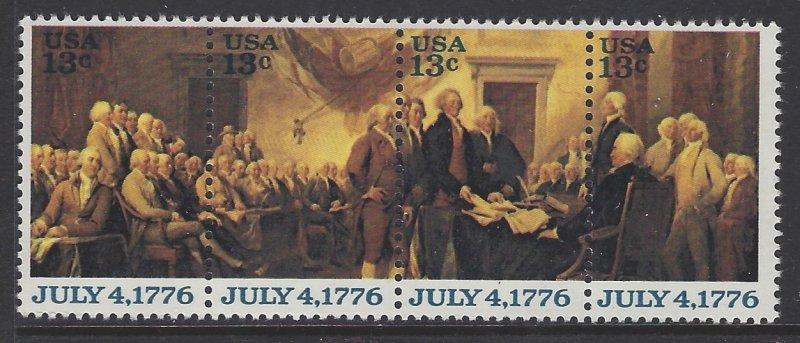 Scott #1694a; 13c Declaration of Independence, Strip of 4, MNH