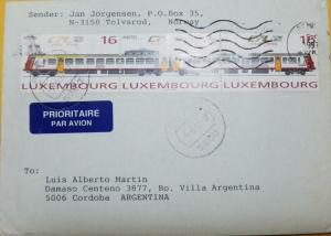 O) 1997 LUXEMBURG. TRAIN, CFL FROM 1946, COVER TO ARGENTINA, XF
