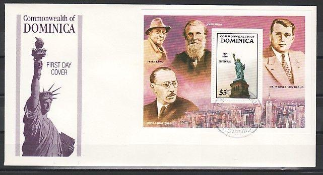 Dominica, Scott cat. 944. Cent`ry Statue of Liberty s/sheet. First Day Cover