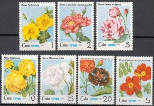 CUBA Sc# 2275-2281  ROSES flowers CPL SET of 7   1979 mint MNH