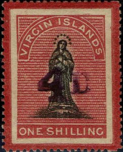 VIRGIN ISLANDS #18 1888 4p SURCHARGE ON ONE SHILLING ST. URSULA ISSUE-MINT/H